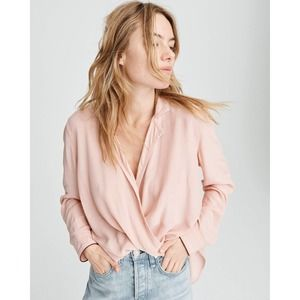 Rag & Bone Dean Victor Drape Wrap Rose Shirt Large